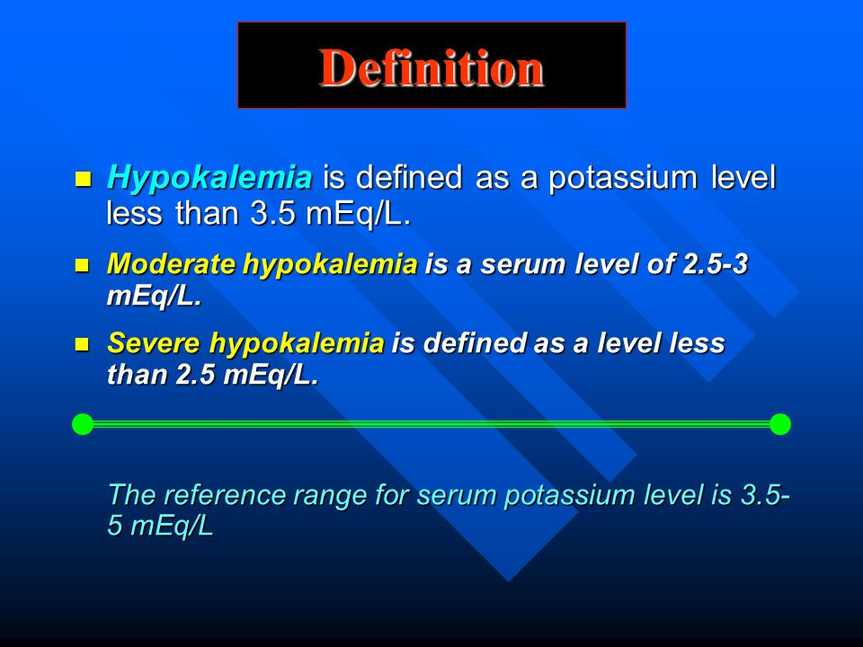 Definition Hypokalemia is defined as a potassium level less than 3.5 mEq/L. Moderate hypokalemia is a serum level of 2.5-3 mEq/L.