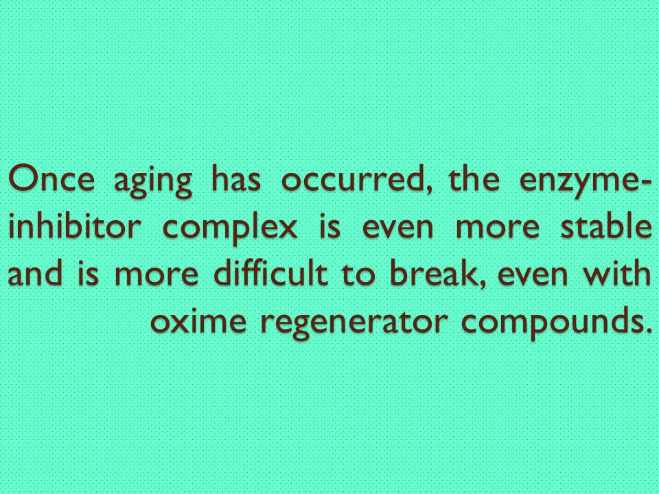 Once aging has occurred, the enzyme-inhibitor complex is even more stable and is more difficult to break, even with oxime regenerator compounds.