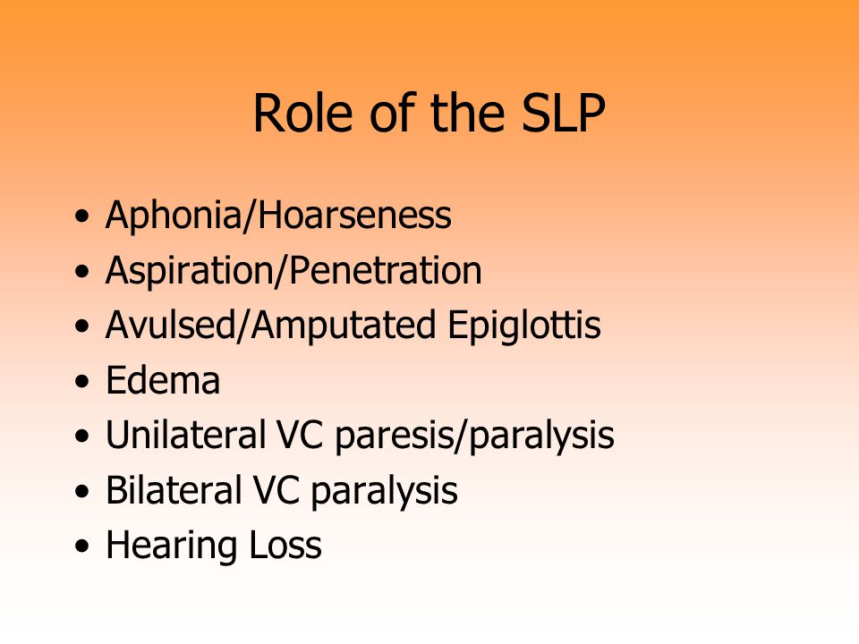 Role of the SLP Aphonia/Hoarseness Aspiration/Penetration