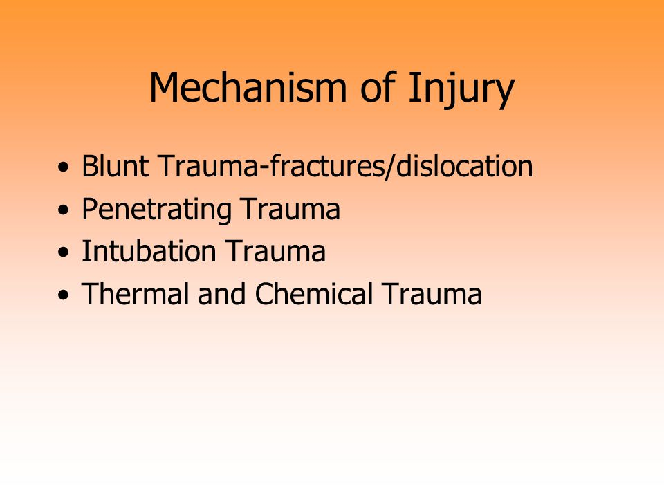 Mechanism of Injury Blunt Trauma-fractures/dislocation