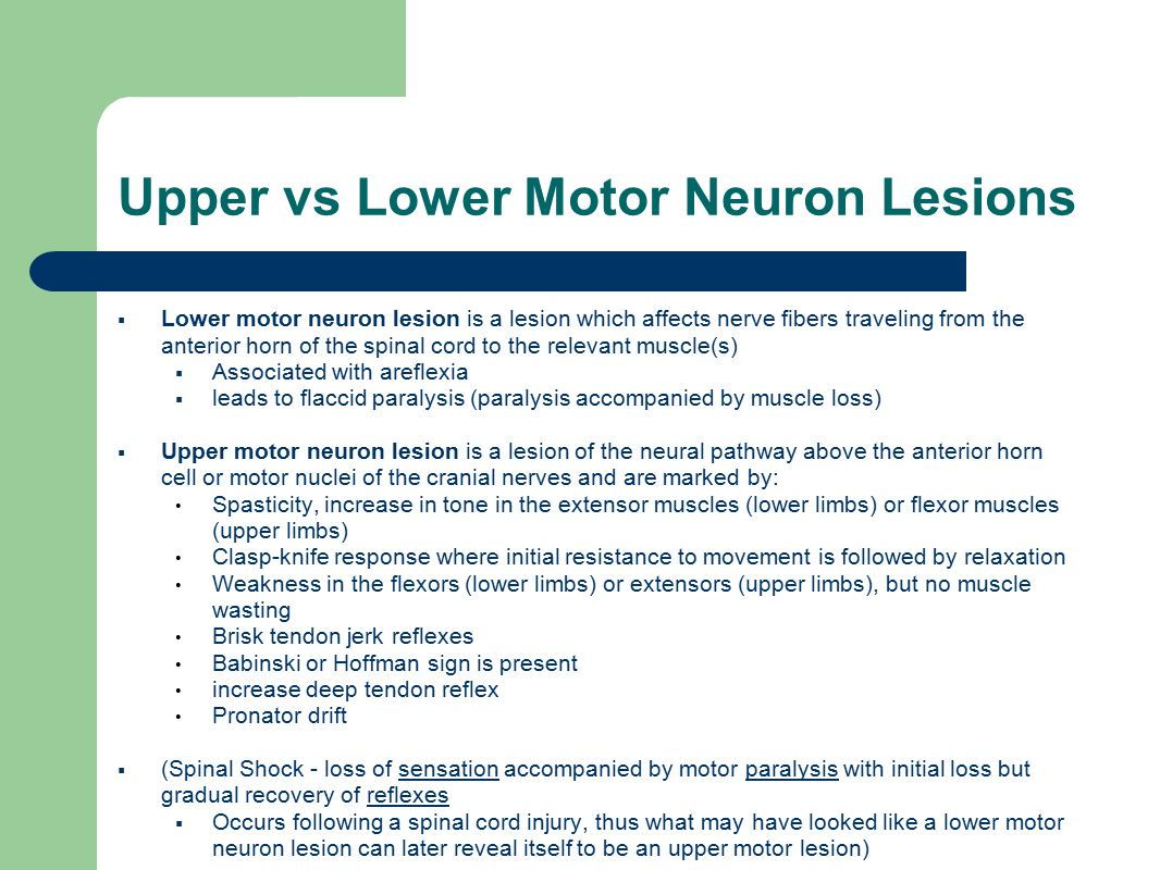 Upper vs Lower Motor Neuron Lesions