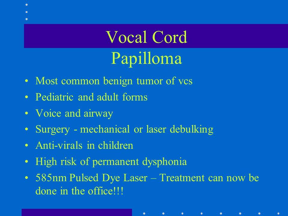 Vocal Cord Papilloma Most common benign tumor of vcs