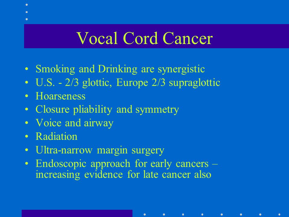 Vocal Cord Cancer Smoking and Drinking are synergistic