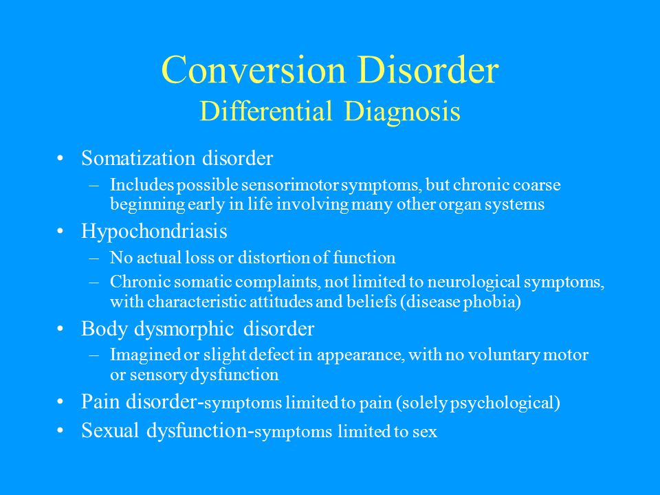 Conversion Disorder Differential Diagnosis