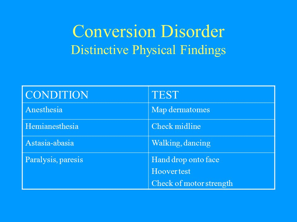 Conversion Disorder Distinctive Physical Findings