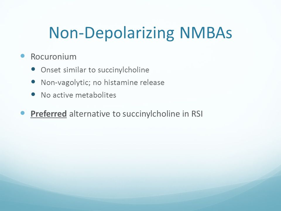 Non-Depolarizing NMBAs