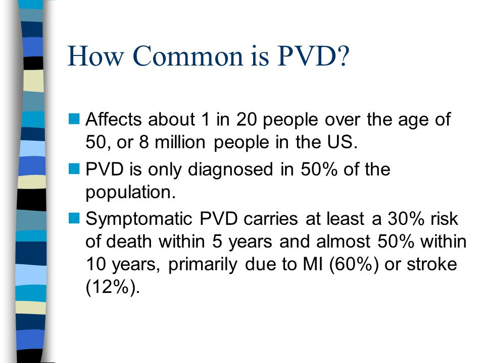 How Common is PVD Affects about 1 in 20 people over the age of 50, or 8 million people in the US. PVD is only diagnosed in 50% of the population.