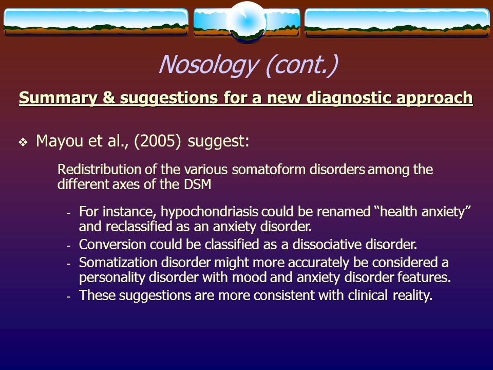 Summary & suggestions for a new diagnostic approach