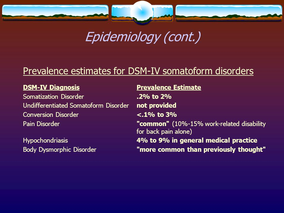 Epidemiology (cont.) Prevalence estimates for DSM-IV somatoform disorders. DSM-IV Diagnosis Prevalence Estimate.