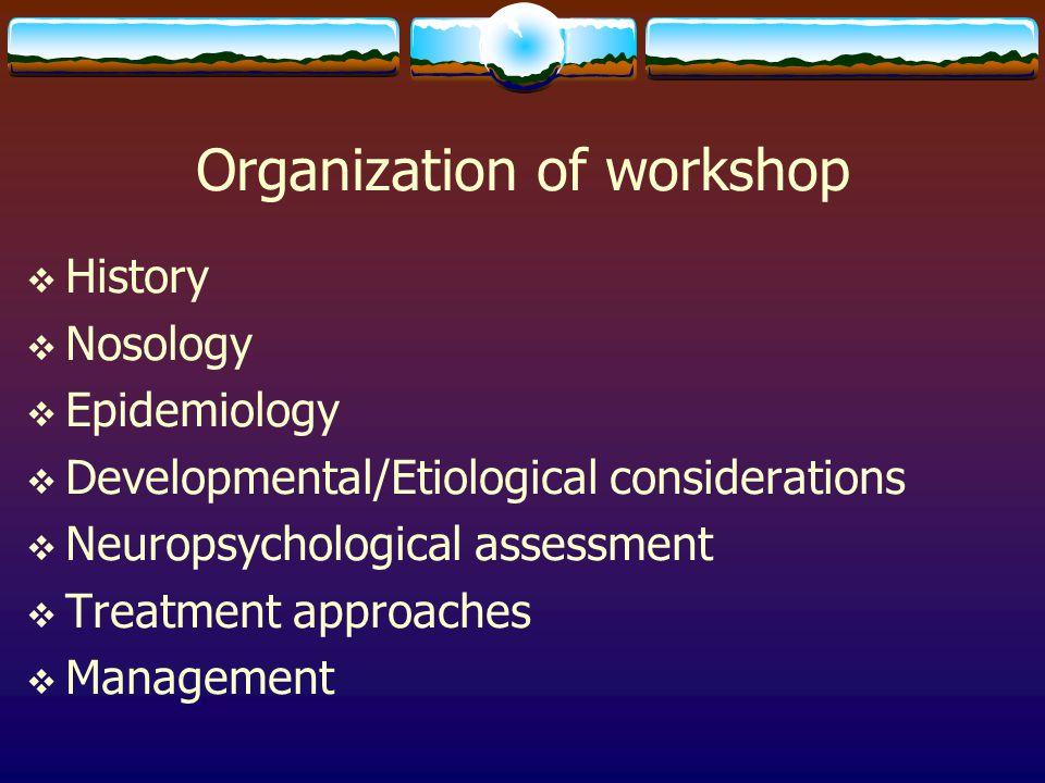 Organization of workshop