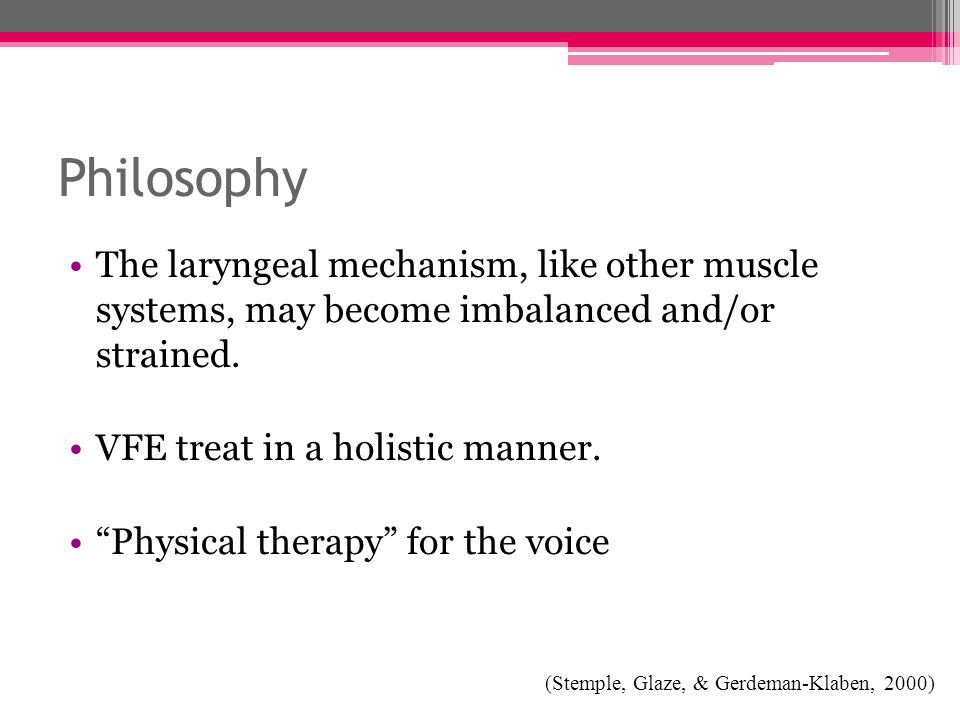 Philosophy The laryngeal mechanism, like other muscle systems, may become imbalanced and/or strained.