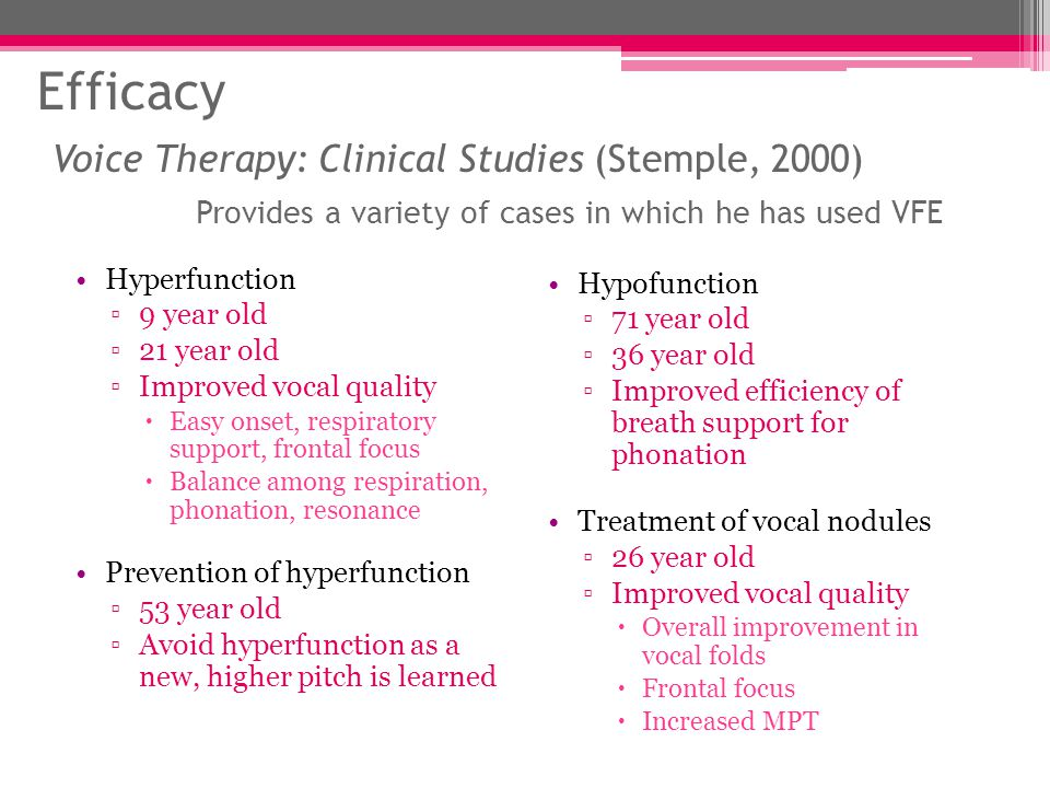 Efficacy Voice Therapy: Clinical Studies (Stemple, 2000) Provides a variety of cases in which he has used VFE