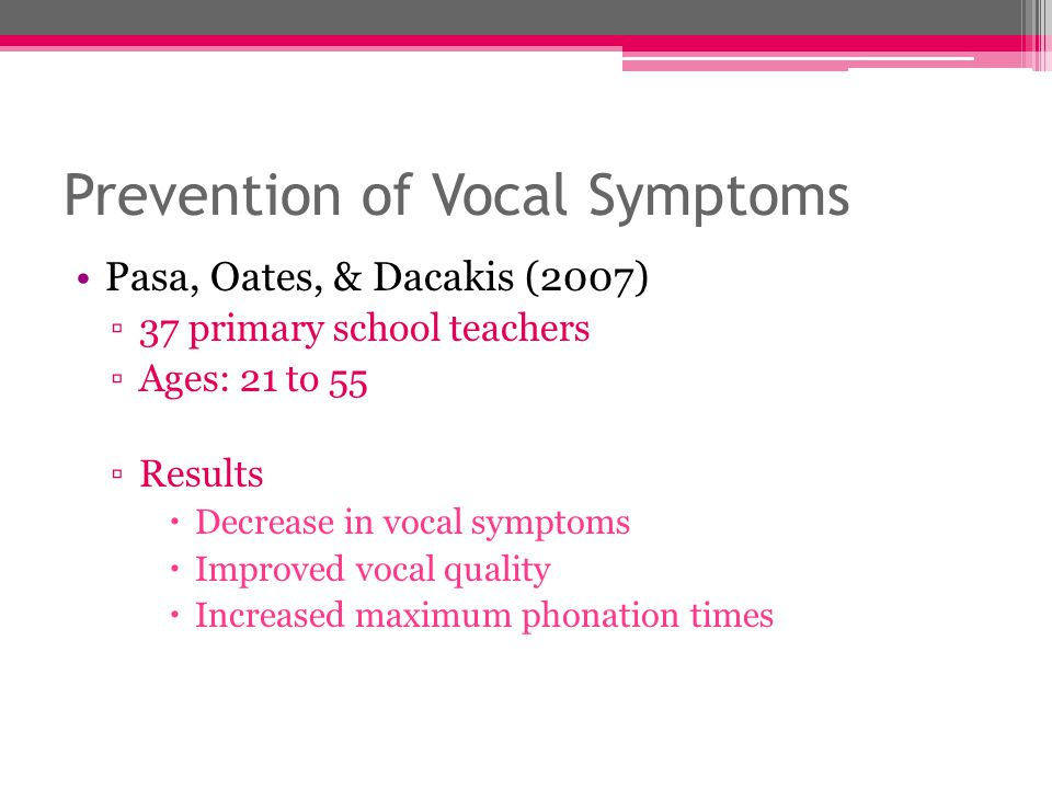 Prevention of Vocal Symptoms