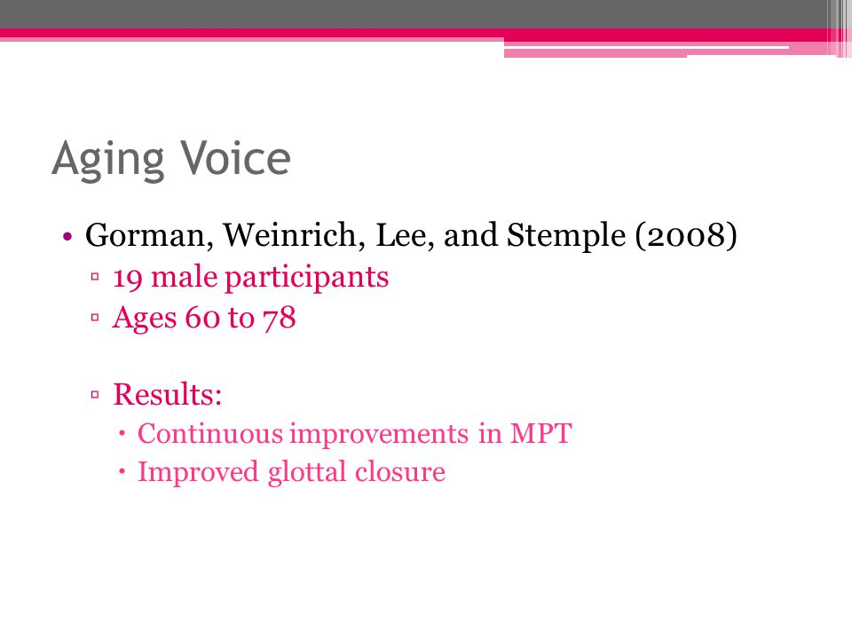 Aging Voice Gorman, Weinrich, Lee, and Stemple (2008)