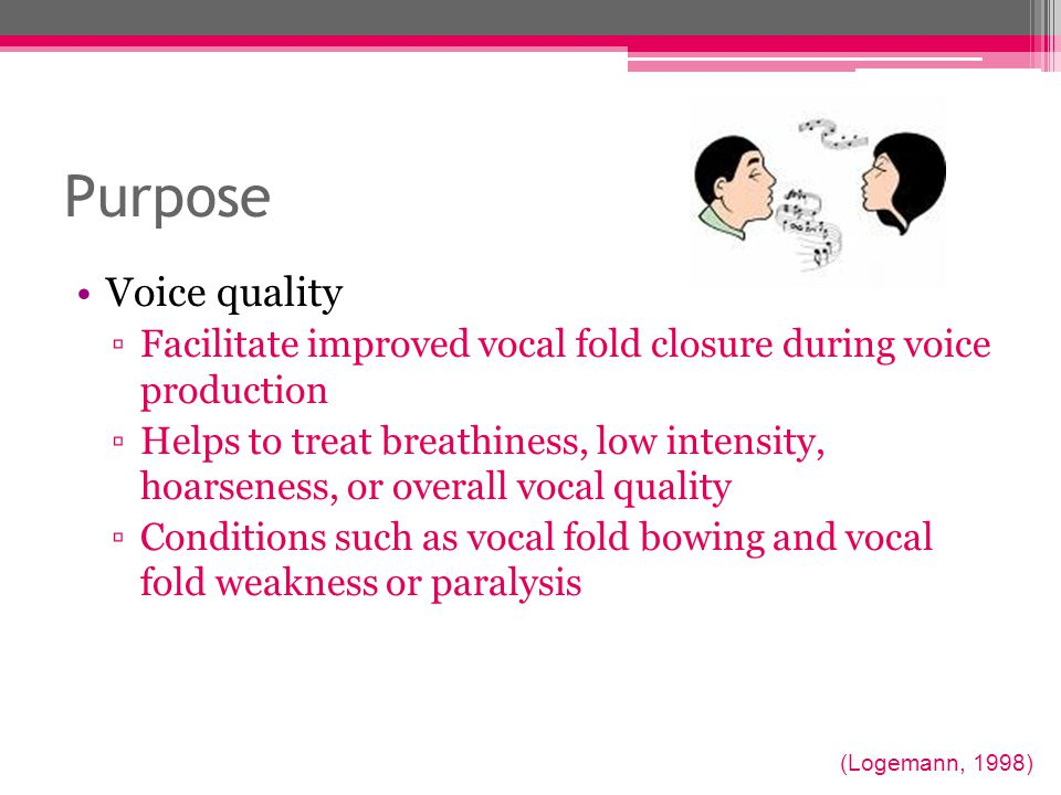 Purpose Voice quality. Facilitate improved vocal fold closure during voice production.