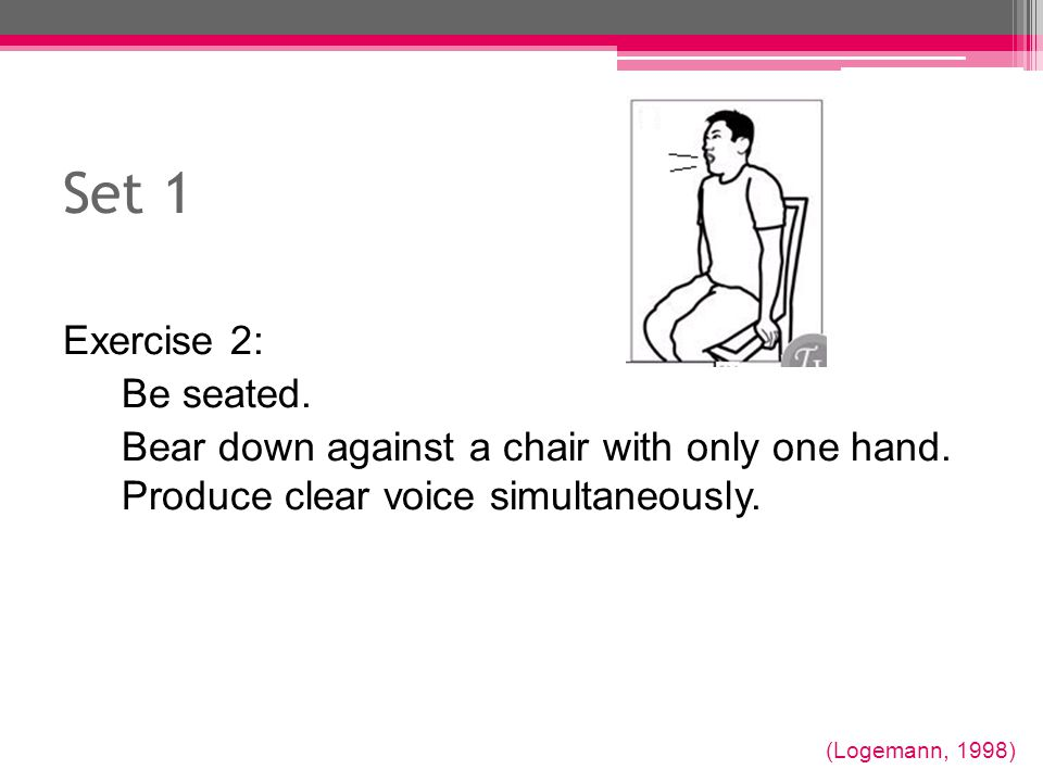 Set 1 Exercise 2: Be seated.