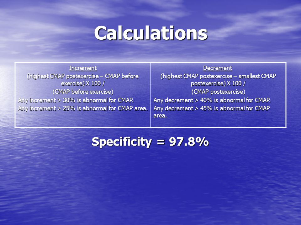 Calculations Specificity = 97.8% Increment