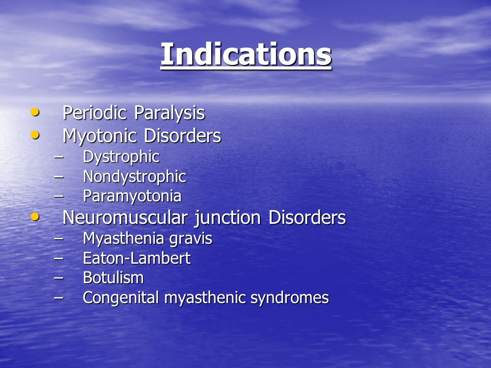 Indications Periodic Paralysis Myotonic Disorders
