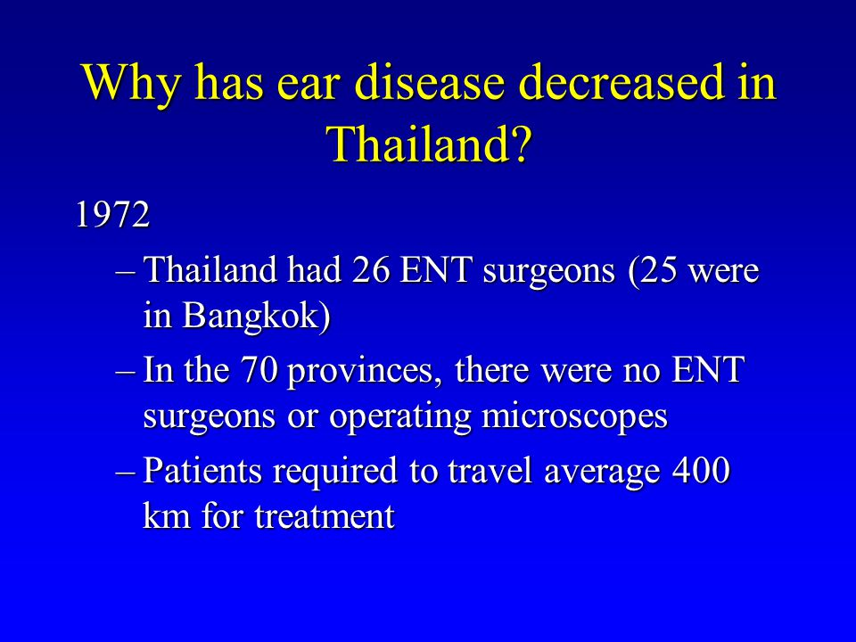 Why has ear disease decreased in Thailand