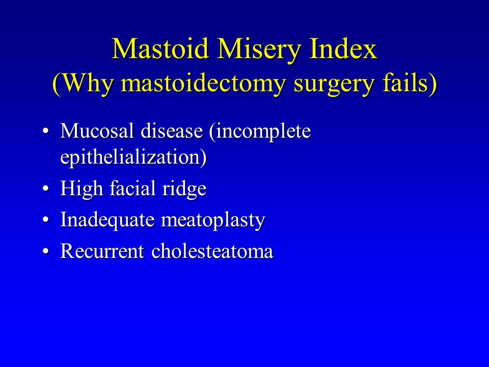 Mastoid Misery Index (Why mastoidectomy surgery fails)