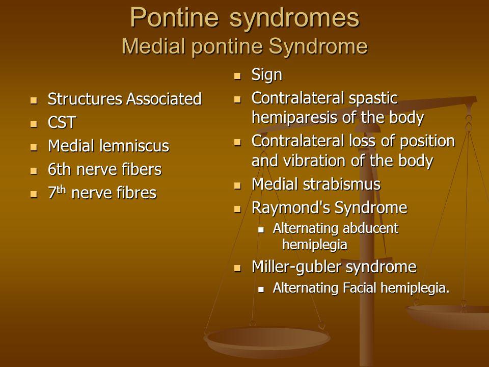 Pontine syndromes Medial pontine Syndrome