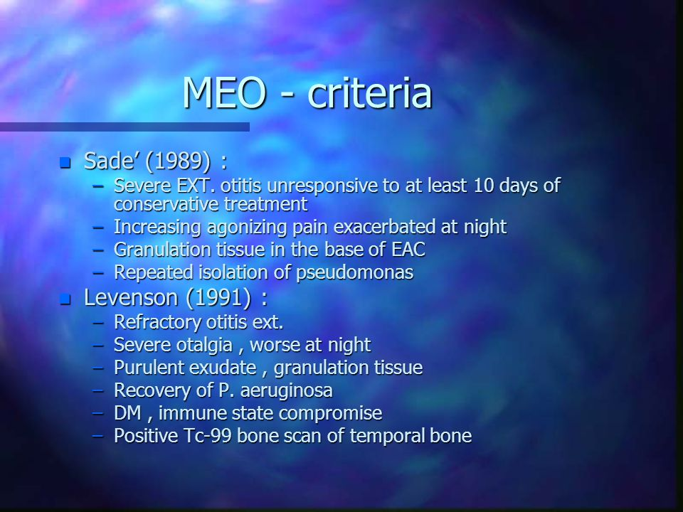 MEO - criteria Sade' (1989) : Levenson (1991) :