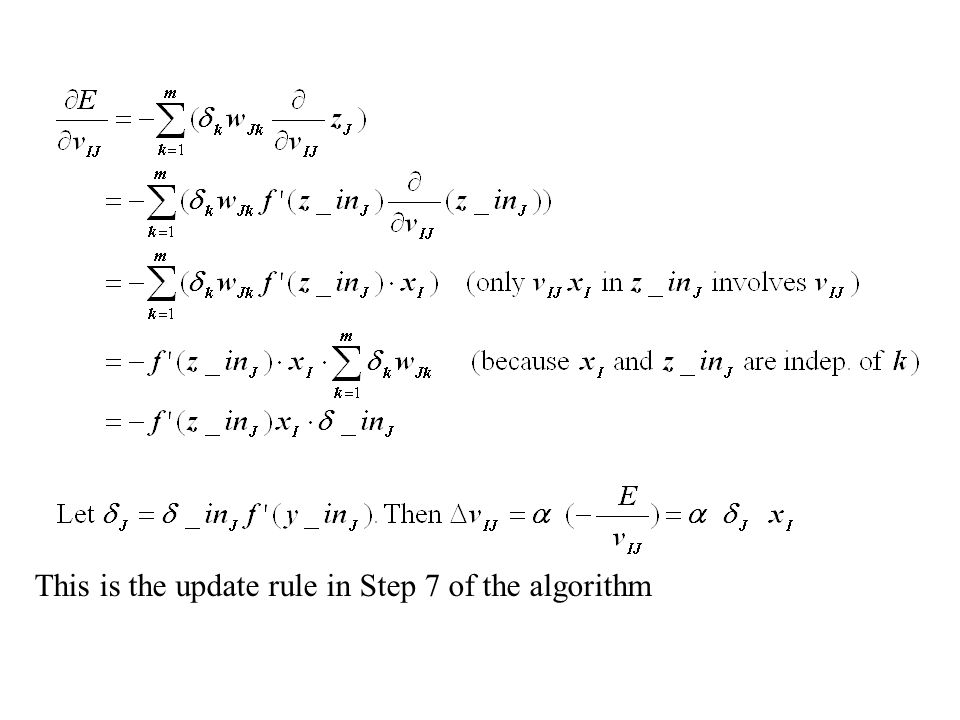 This is the update rule in Step 7 of the algorithm