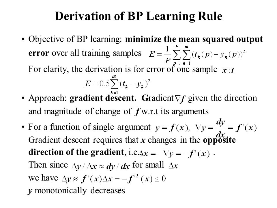 Derivation of BP Learning Rule