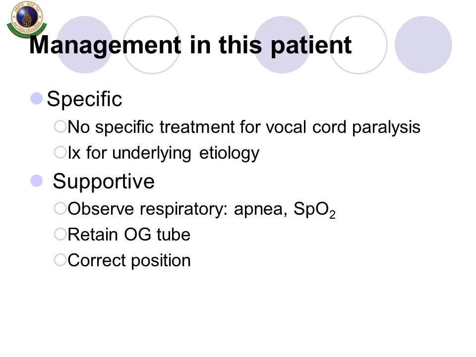 Management in this patient
