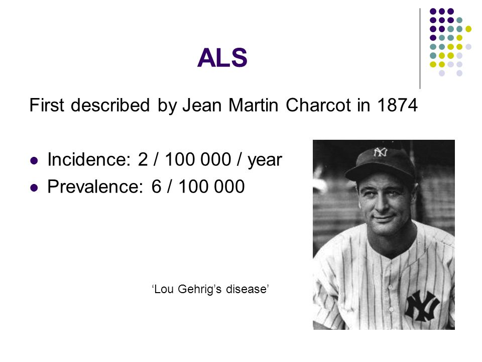ALS First described by Jean Martin Charcot in 1874
