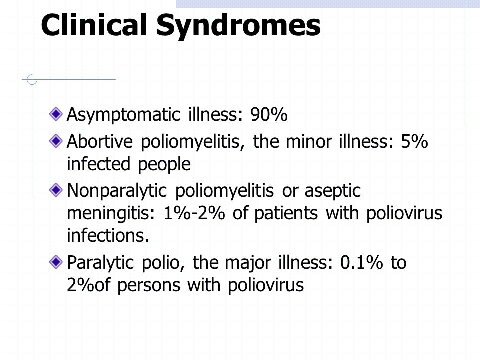 Clinical Syndromes Asymptomatic illness: 90%