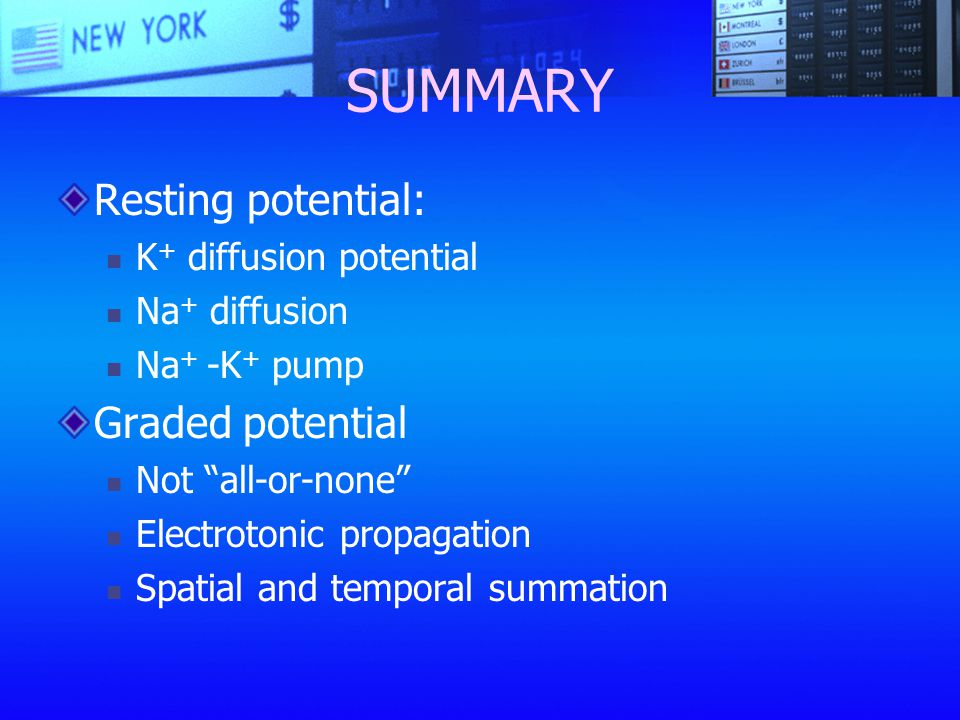 SUMMARY Resting potential: Graded potential K+ diffusion potential