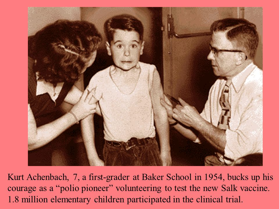 Kurt Achenbach, 7, a first-grader at Baker School in 1954, bucks up his courage as a polio pioneer volunteering to test the new Salk vaccine.
