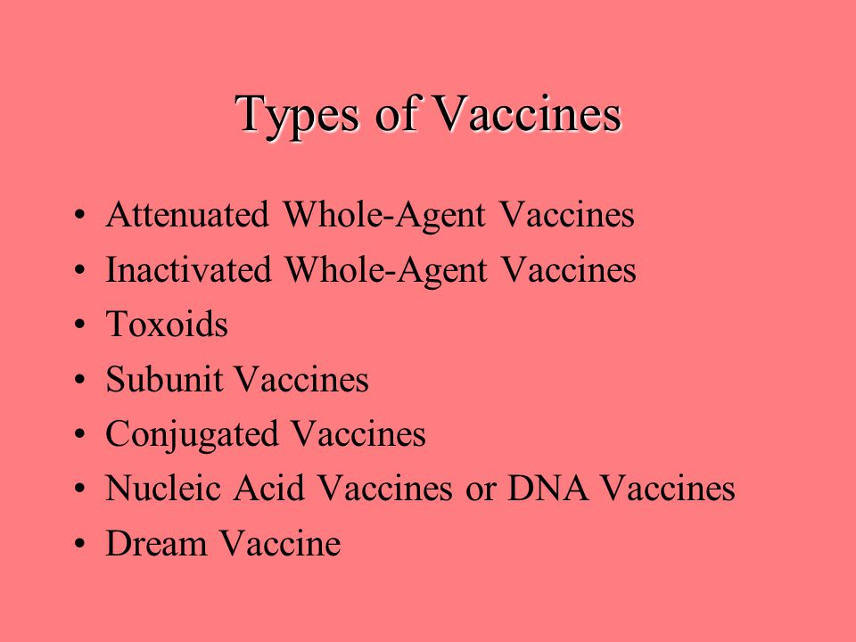 Types of Vaccines Attenuated Whole-Agent Vaccines