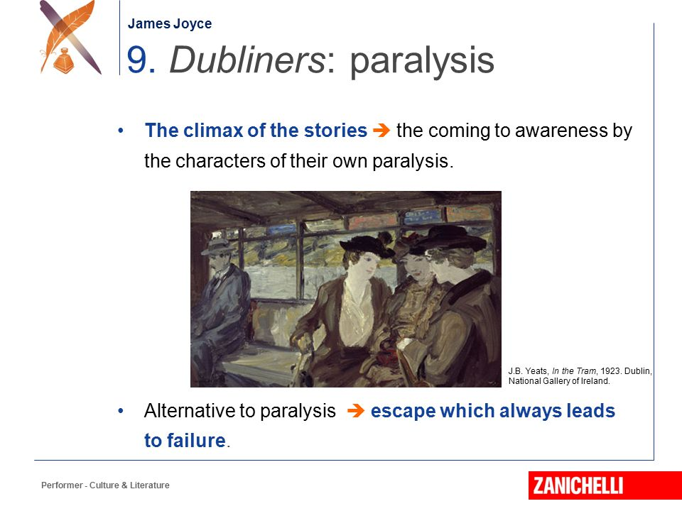 James Joyce 9. Dubliners: paralysis. The climax of the stories  the coming to awareness by the characters of their own paralysis.