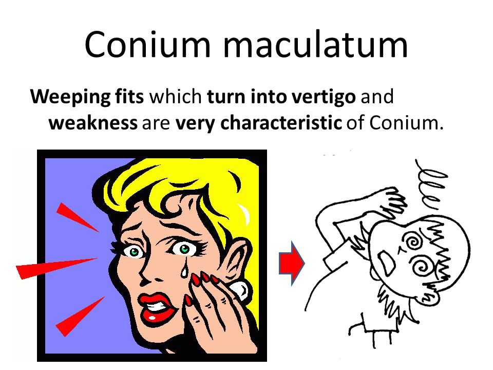 Conium maculatum Weeping fits which turn into vertigo and weakness are very characteristic of Conium.