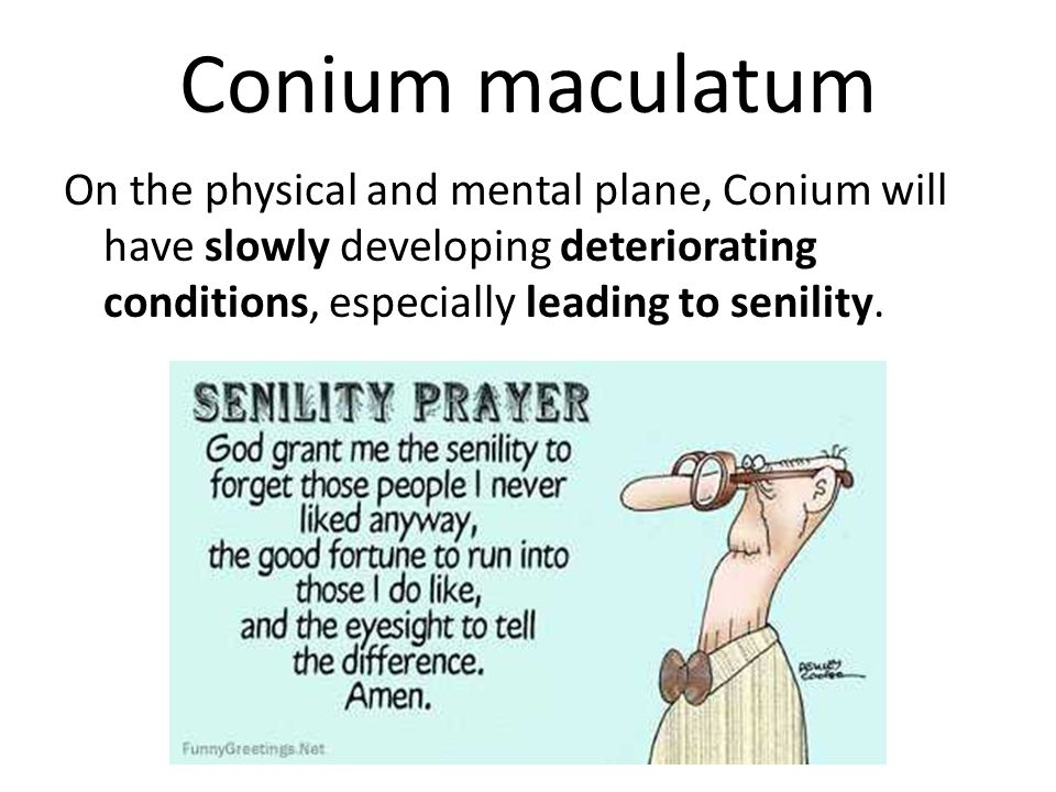 Conium maculatum On the physical and mental plane, Conium will have slowly developing deteriorating conditions, especially leading to senility.