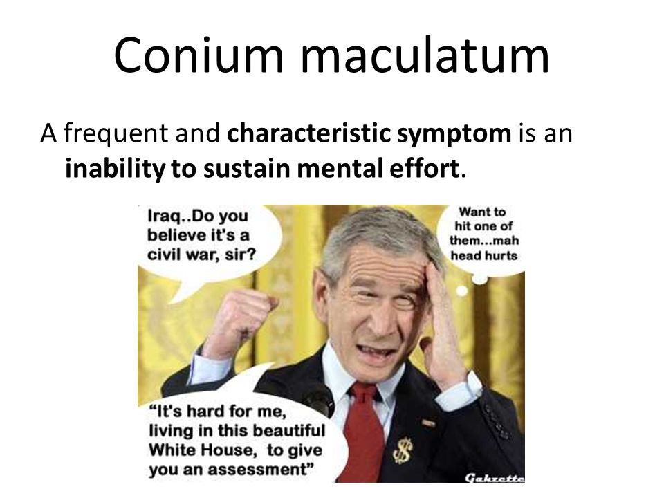 Conium maculatum A frequent and characteristic symptom is an inability to sustain mental effort.