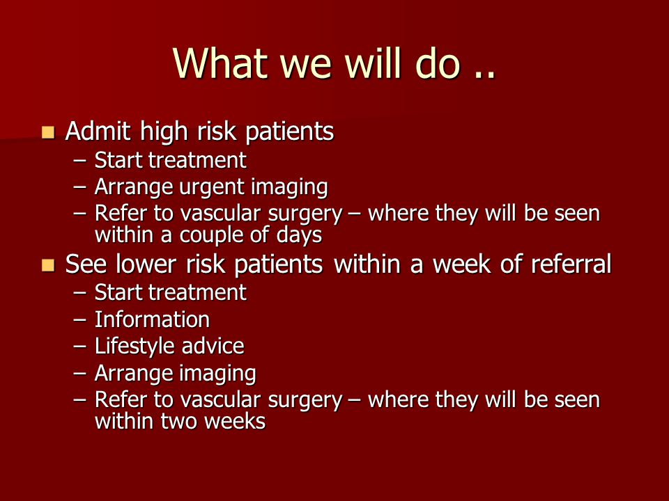 What we will do .. Admit high risk patients