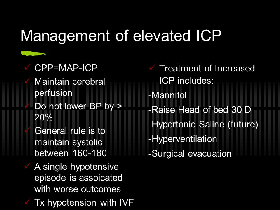 Management of elevated ICP