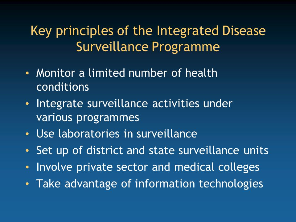 Key principles of the Integrated Disease Surveillance Programme
