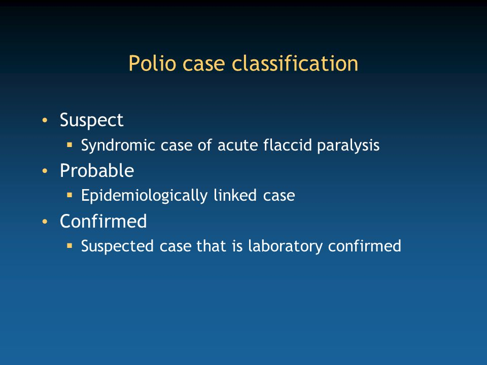 Polio case classification