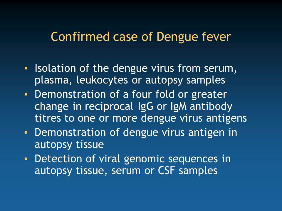 Confirmed case of Dengue fever