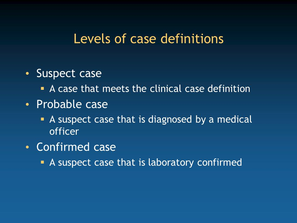 Levels of case definitions