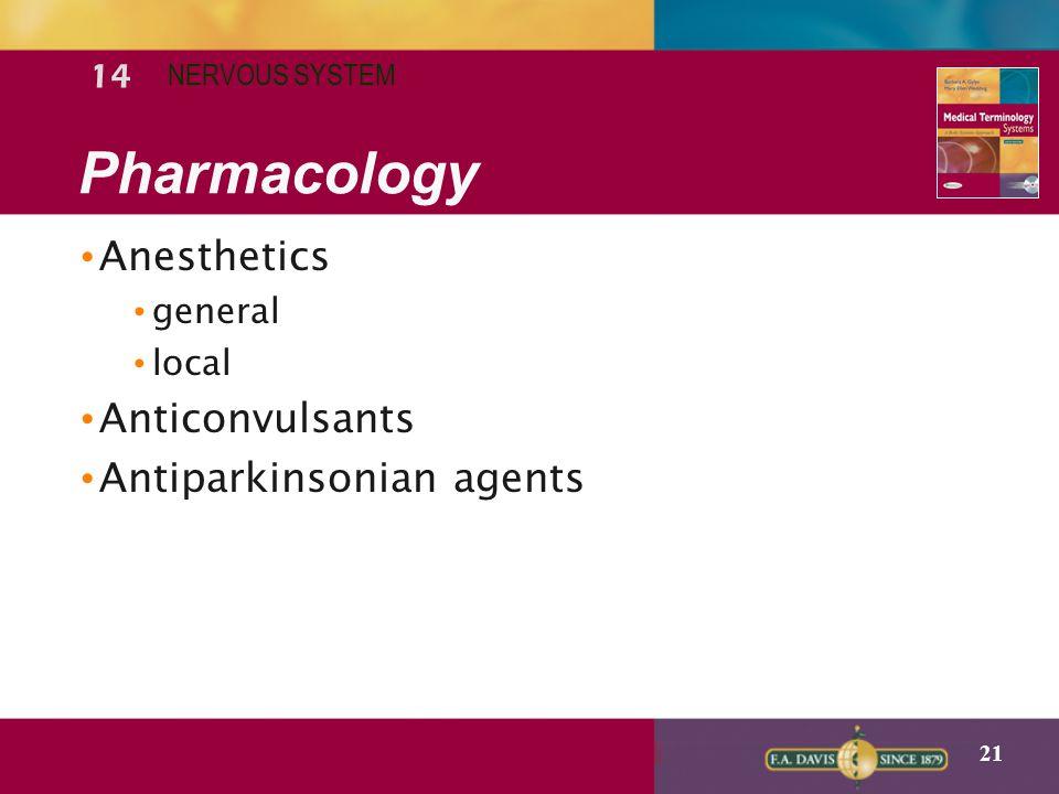 Pharmacology Anesthetics Anticonvulsants Antiparkinsonian agents 14