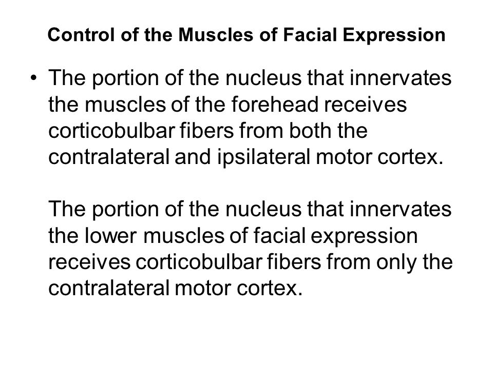 Control of the Muscles of Facial Expression