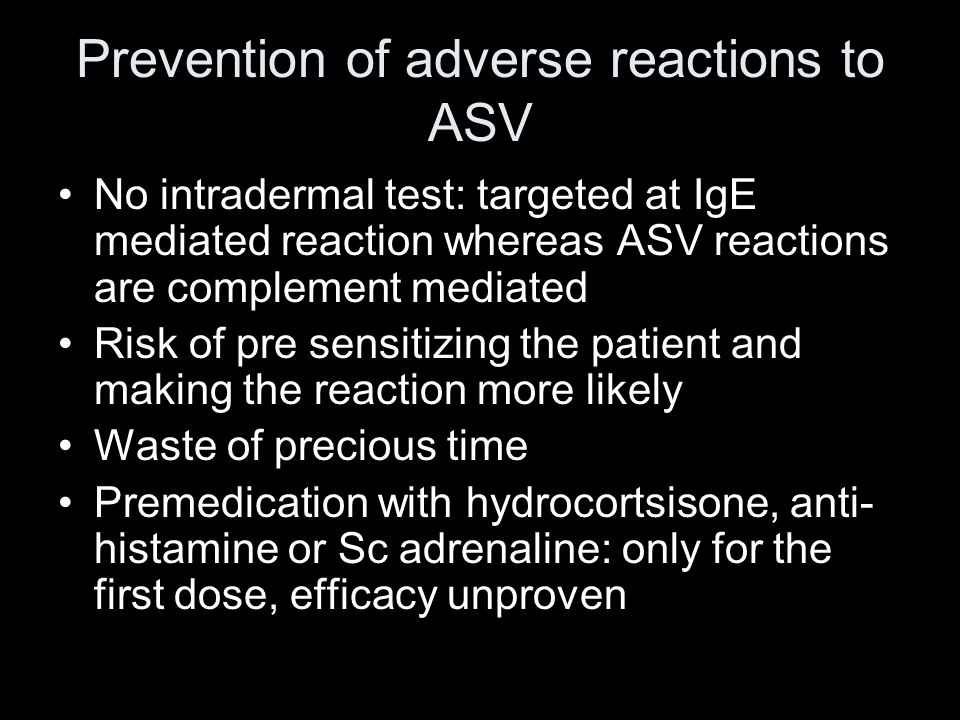 Prevention of adverse reactions to ASV