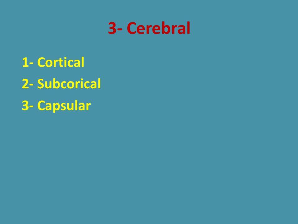 3- Cerebral 1- Cortical 2- Subcorical 3- Capsular