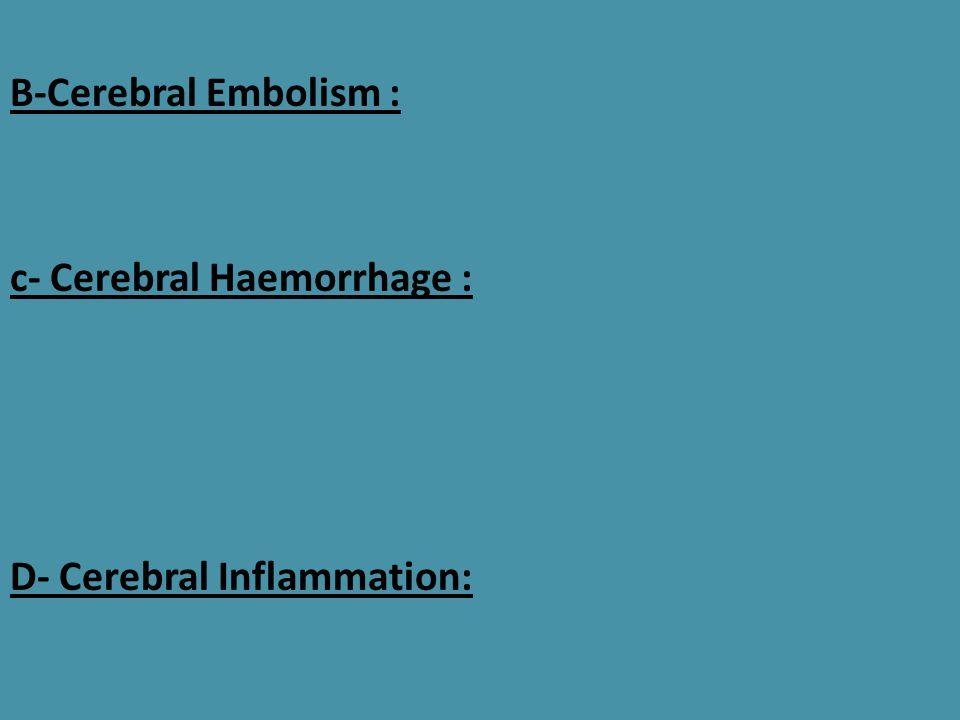 B-Cerebral Embolism : c- Cerebral Haemorrhage : D- Cerebral Inflammation: