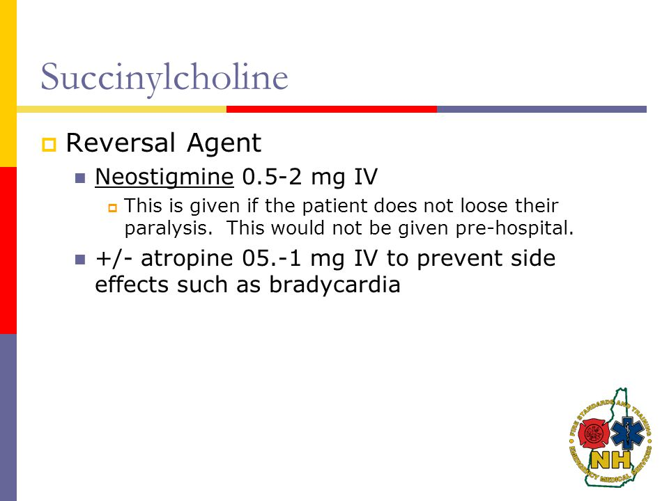 Succinylcholine Reversal Agent Neostigmine 0.5-2 mg IV